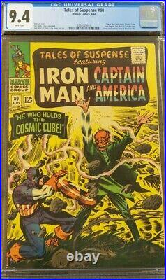 Tales of Suspense #80 CGC 9.4 Cosmic Cube White Pages Captain America Red Skull