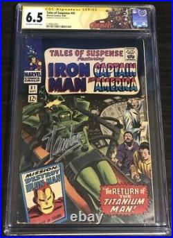 Tales of Suspense #81 CGC 6.5 Stan Lee Signed Avengers Label ONLY 12 SS Captain