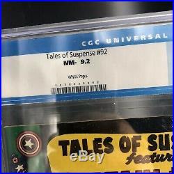 Tales of Suspense TOS #92 CGC 9.2 (Wt Pgs) EARLY CGC Captain America/Iron Man